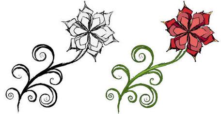 Spiral Leaf Flower Free, Vector.