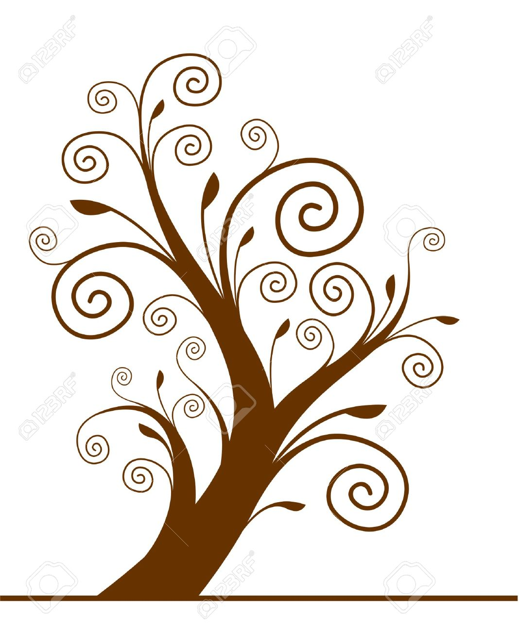 Tree Silhouette With Spiral Leaf. Vector. Royalty Free Cliparts.