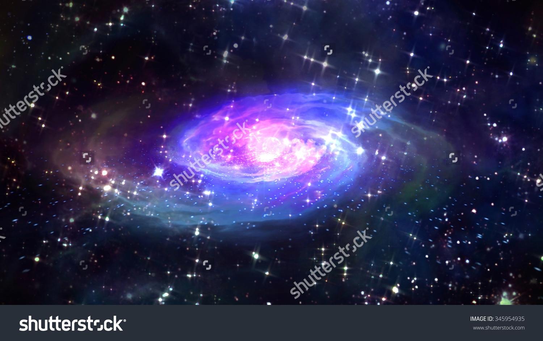 Glowing Spiral Nebula Galaxy Space Elements Stock Illustration.