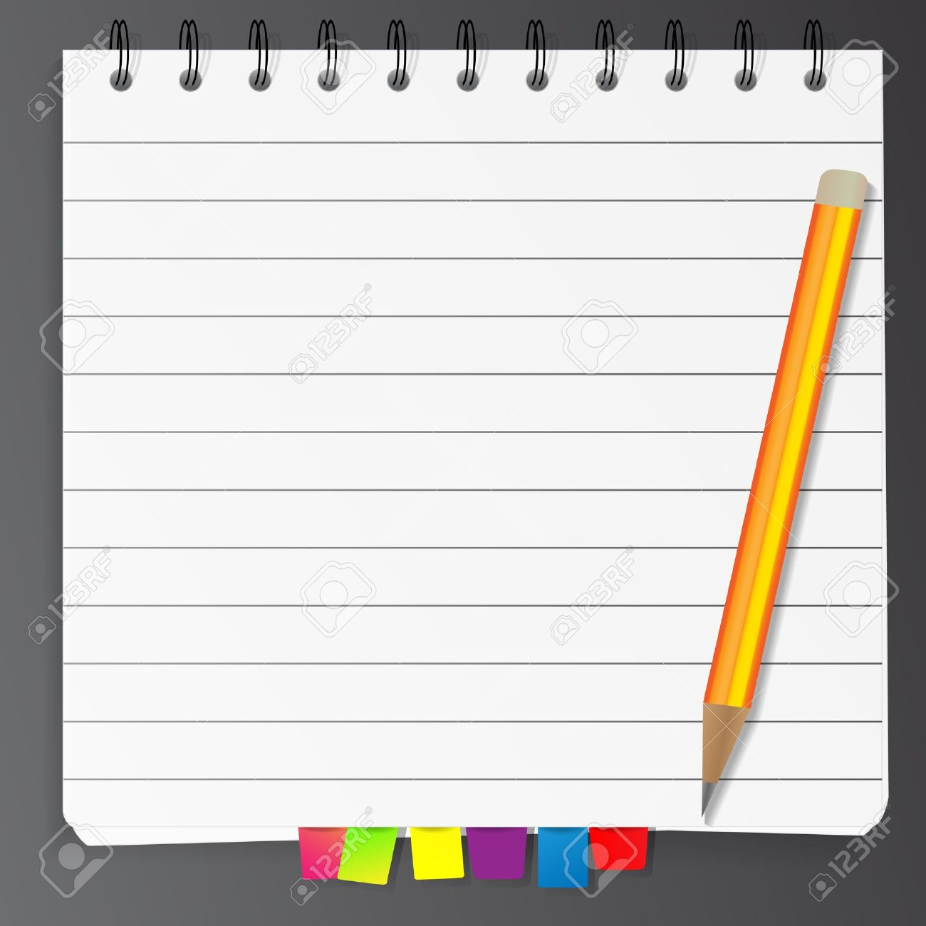 Spiral Notepad List With Bookmarks And Pencil Royalty Free.
