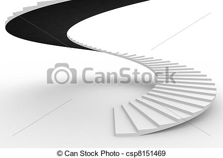 Stock Illustration of Spiral staircase. Computer generated image.