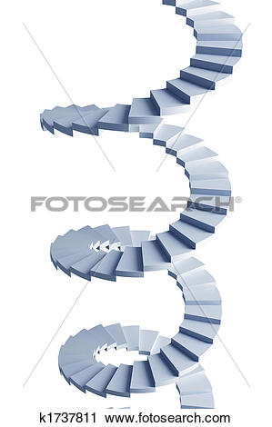 Clipart of isolated 3d spiral staircase k1737811.