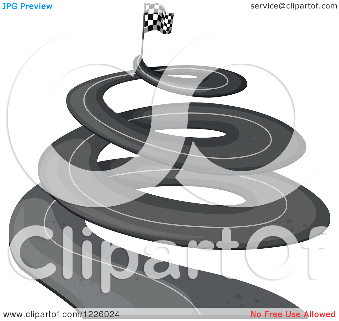 Clipart of a Spiraling Road with a Checkered Flag.