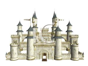 Art Image: A White and Gold Castle with Blue Spires.