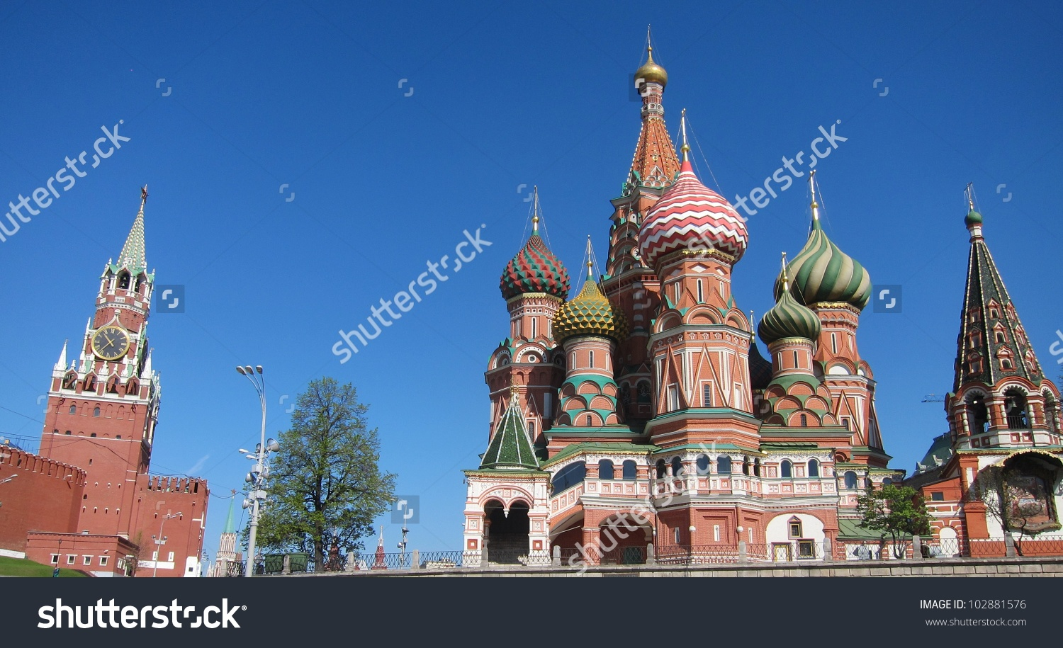 The Onion Domed Spires Of Saint Basil'S Cathedral In Moscow'S Red.