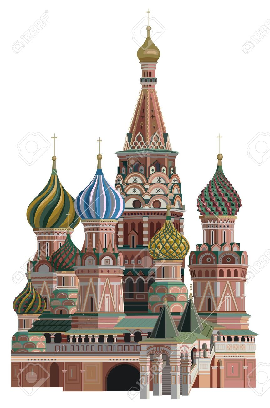 Illustration Of Saint Basil Cathedral, Isolated On White.