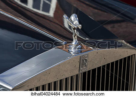 "Stock Photo of ""Spirit of Ecstasy, standing, hood ornament, Rolls."