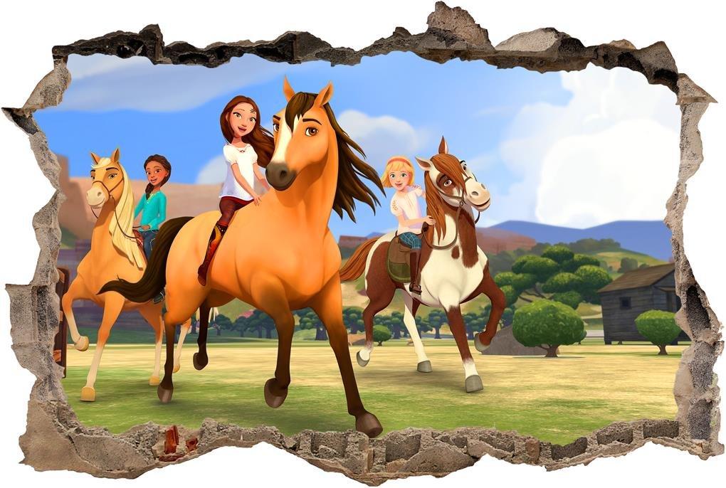 Spirit Riding Free 3D Smashed Wall Sticker Decal Art Mural Horses Kids  J593, Mini.