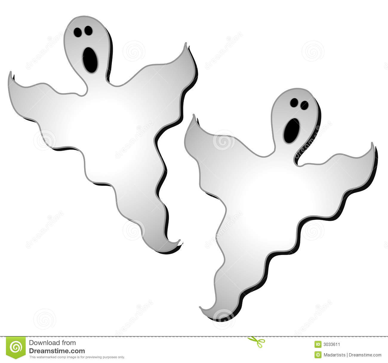 Halloween Ghosts Clip Art 2 Stock Image.