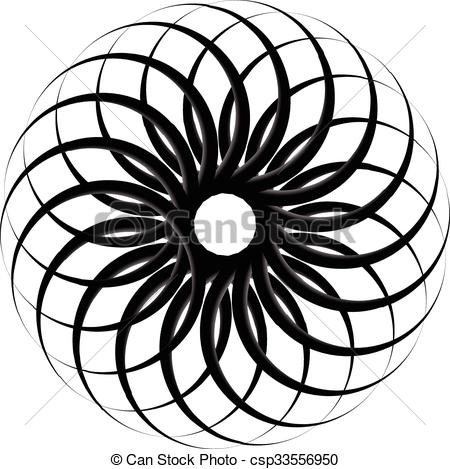 Clipart Vector of Spirograph pattern like rotating spiral, vortex.