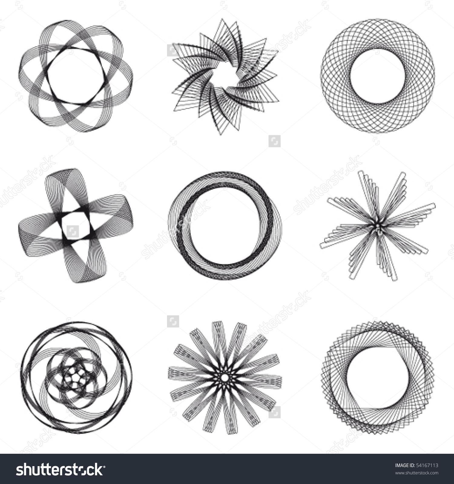 Set Spirograph Design 9 Elements Vector Stock Vector 54167113.
