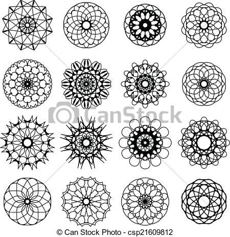 Spirographs Clipart Vector Graphics. 154 Spirographs EPS clip art.