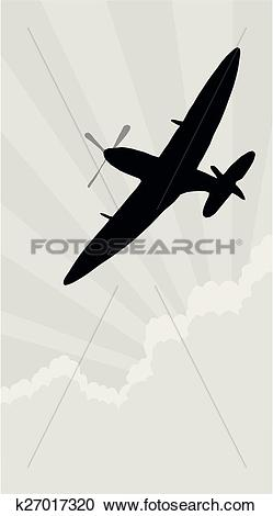 Clipart of Silhouette spitfire k27017320.