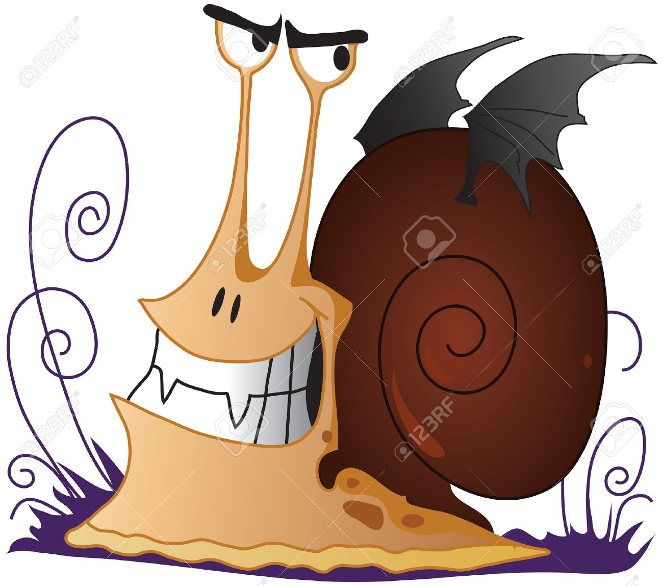 Spiteful Snail The Vampire With Wings Royalty Free Cliparts.