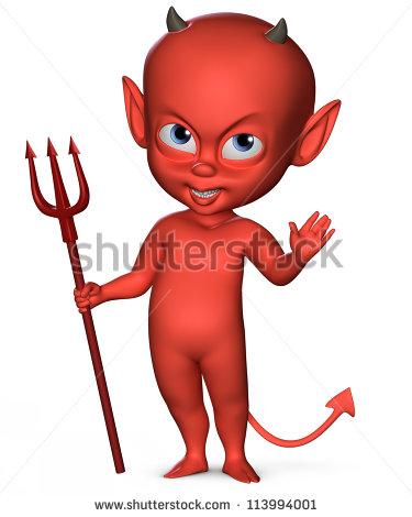 Spiteful Devil Boy Trident Stock Illustration 113994001.