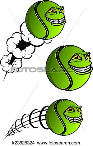 Clipart of Spiteful tennis ball cartoon characters k23828324.
