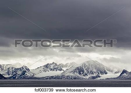 Stock Photograph of Europe, Norway, Spitsbergen, Svalbard, View of.