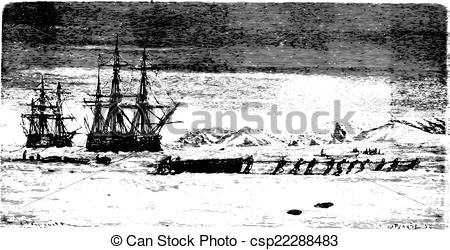 Vector of Ships trapped in ice at Spitsbergen, vintage engraving.