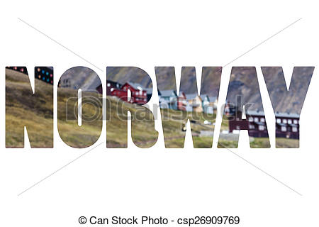 Stock Image of Word NORWAY over Spitsbergen natural world.