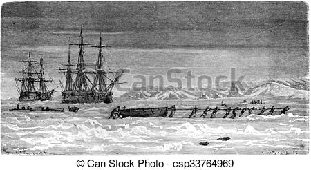 Stock Illustration of Spitsbergen, Ships trapped in the ice.