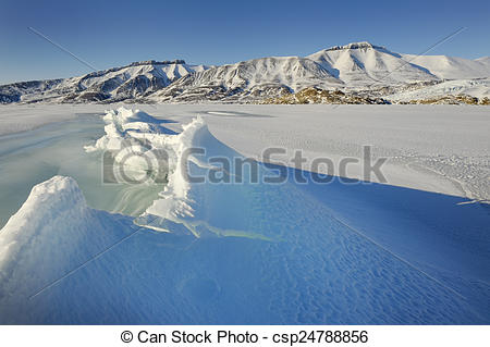 Stock Images of Crack in pack ice in a bay at Spitsbergen.