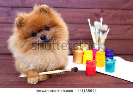 Dog Painter Stock Photos, Royalty.