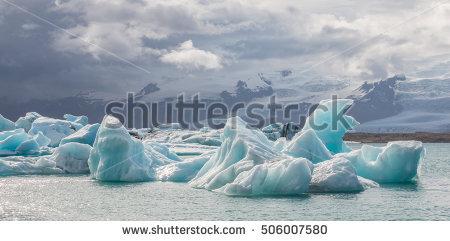 Amazing Jokulsarlon Glacial Lake Full Melting Stock Photo.