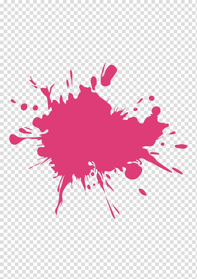 Pink splash , Painting Ink, Paint effects transparent.