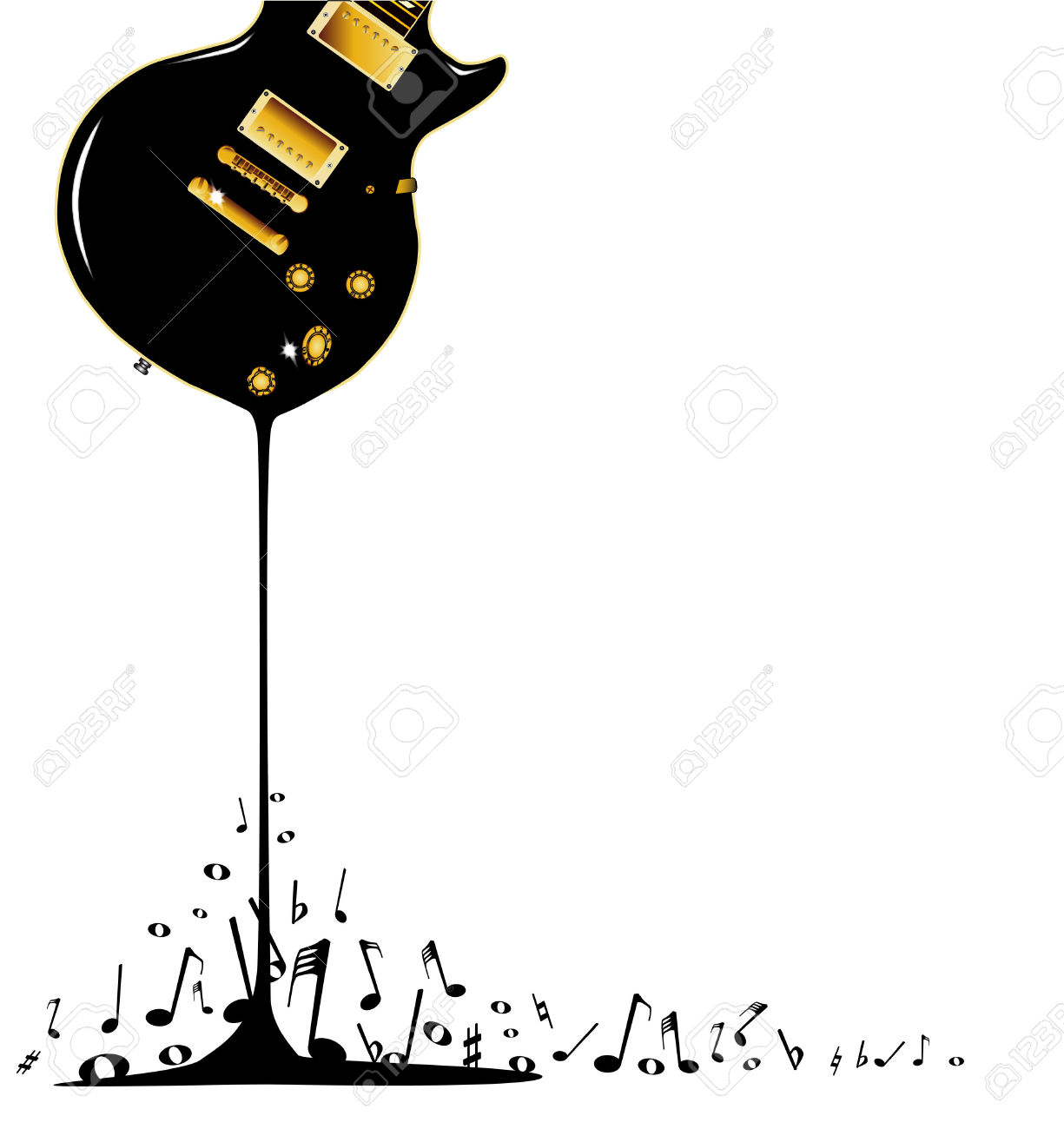 A Rock Guitar Melting Down With Musical Notes Splashing Around.