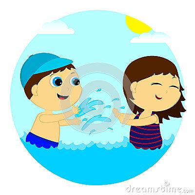 Children Splash In The Water Stock Photo.