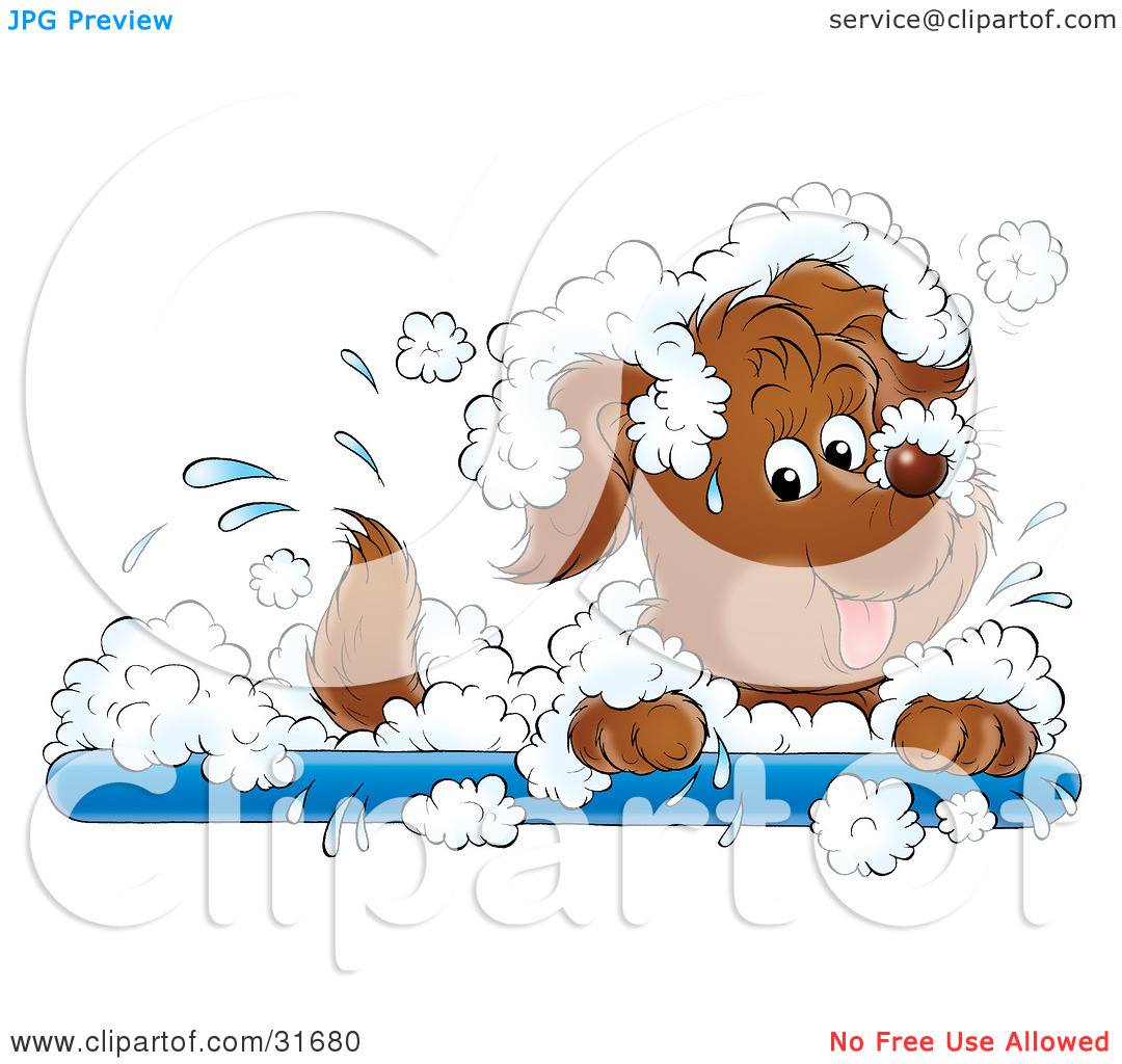 Clipart Illustration of a Playful Puppy Dog Splashing Around In A.