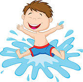 Kids Splashing Clipart.