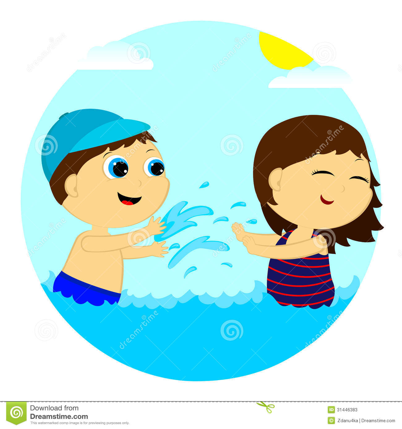 Kids Splashing Water Clipart.