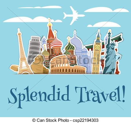 Vector Clipart of Landmarks scrapbook background.