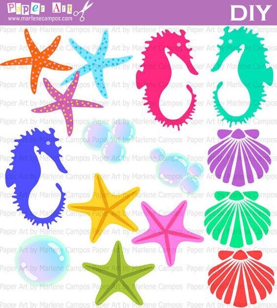 Sea Life Clip Art, Little Mermaid Inspired, Sea elements.
