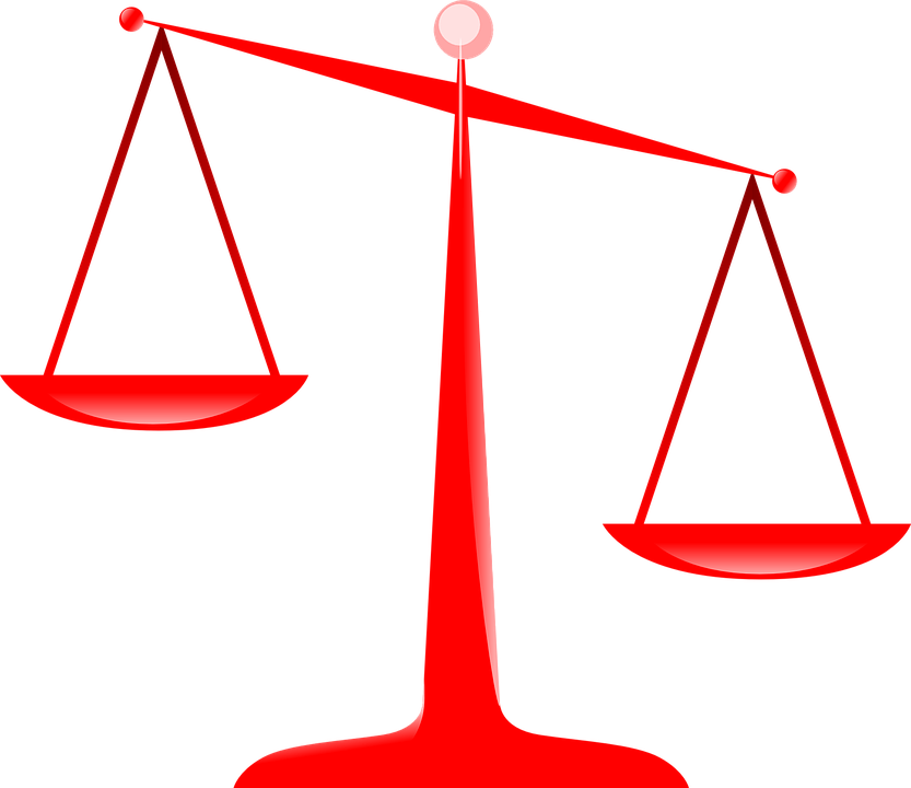 Free vector graphic: Scales, Justice, Red, Balance, Law.