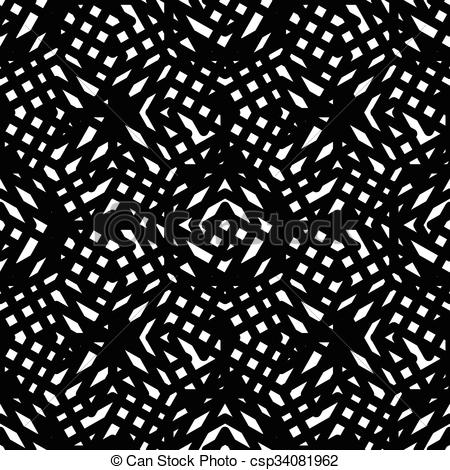 Clip Art Vector of Geometric messy lined seamless pattern, black.