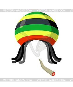 Rasta Cap with dreadlocks. Spliff smoking d.