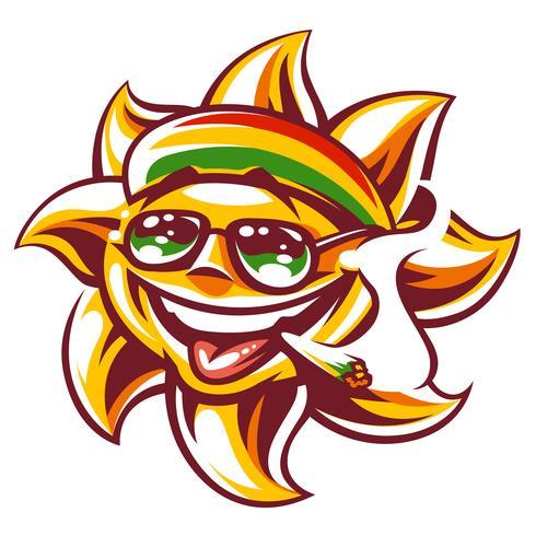 Vector Rasta Sun with Spliff.