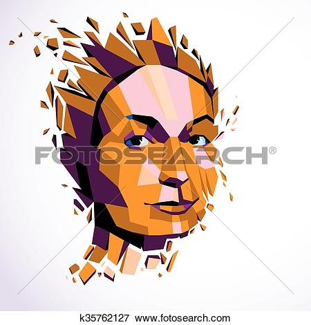 Clip Art of Modern technological illustration of personality, 3d.