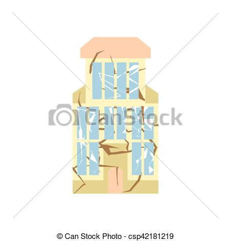Vector Clip Art of Hurricane demolition building. Broken house war.