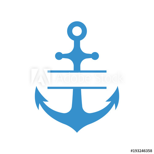 Nautical anchor with split monogram isolated on white.
