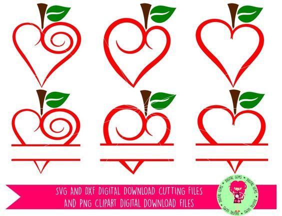 Teacher Heart Apples, Split Apple SVG / DXF Cutting Files For.