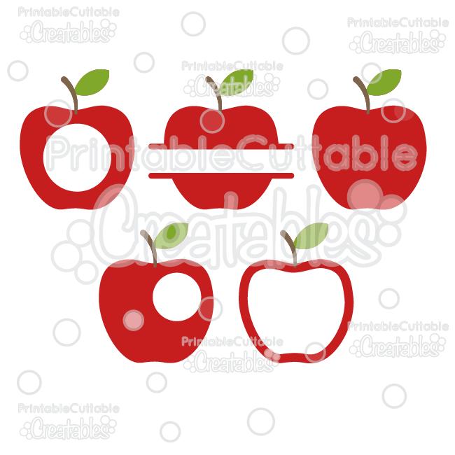 Whole Split & Monogram Apples FREE SVG Cut File & Clipart.
