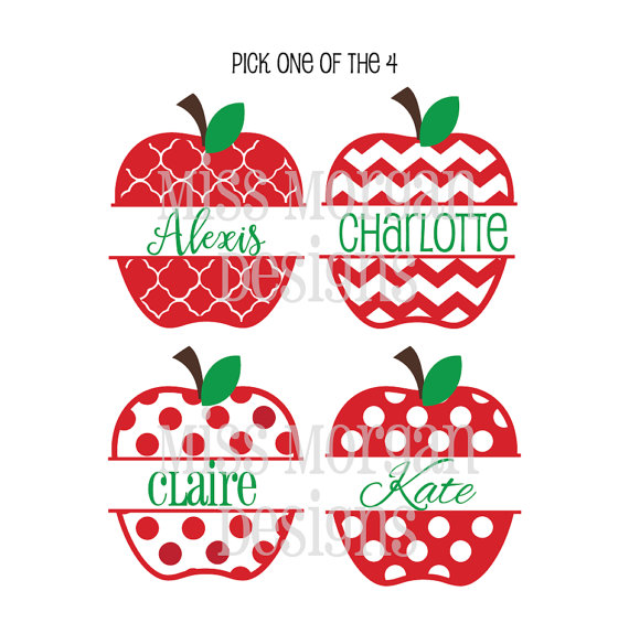 Items similar to Pick One Personalized Split School Apple Polka.