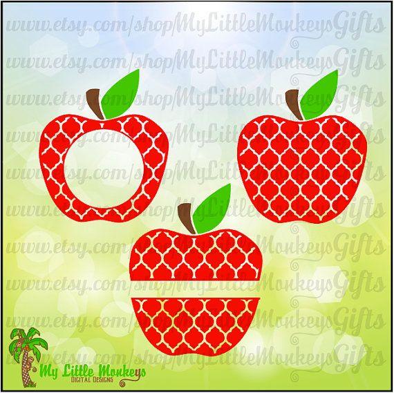 Split apple clipart monogram.