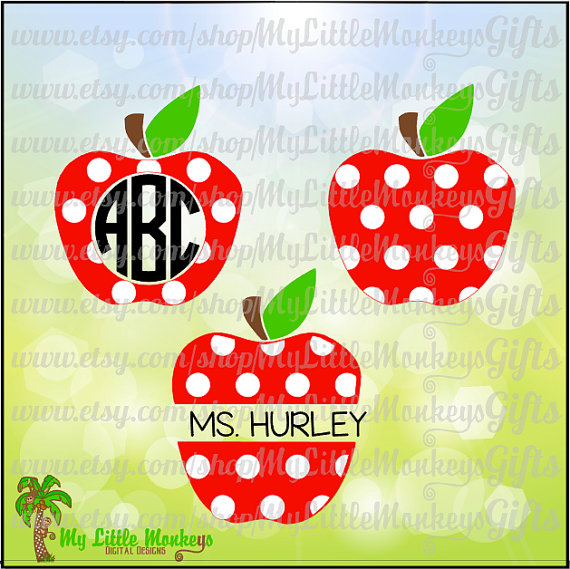 Polka Dot Apple Clipart.