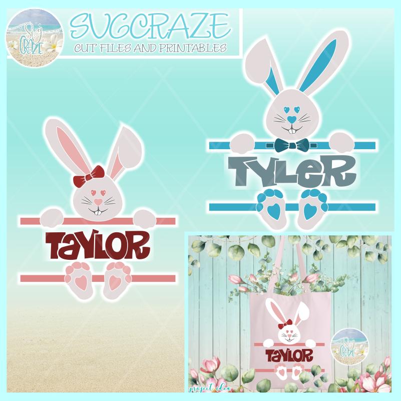 Easter Bunny Split Frame Boy Girl SVG.