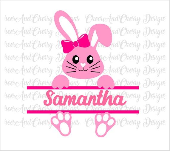 Bunny split monogram svg for Easter Cricut Silhouette files.