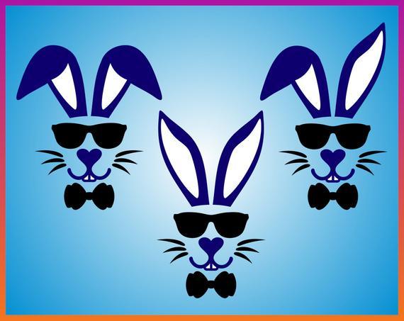 Easter Bunny With Sunglasses svg Bundle Easter Split Bunny.